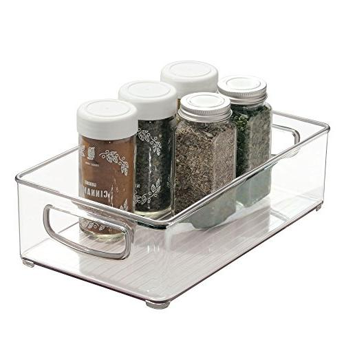 mDesign Stackable Plastic Pantry Cabinet, or Freezer Food Bin with - BPA 2 Pack - Clear