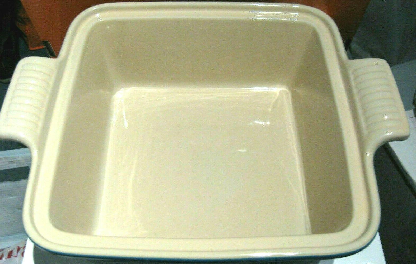 LE Stoneware Square Casserole With Teal