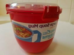 Sistema Large Microwave Cup Soup Bowl 900ml Red Splatter Fre