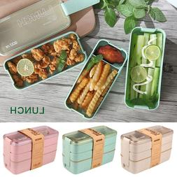 Lunch Boxes Wheat Straw Bento Boxes Microwave 3 Layer Food S