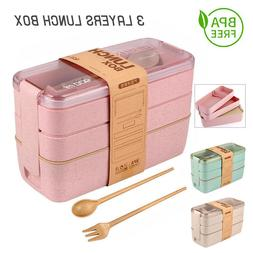 Microwave Lunch Boxes 3 Layers Wheat Straw Bento Boxes Food