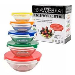 New Farberware 10 Piece Glass Storage Bowl Set Snap Tight Li