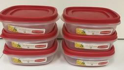 *PACK of 6* RUBBERMAID 3 CUP EASY FIND LID SQUARE FOOD CONTA