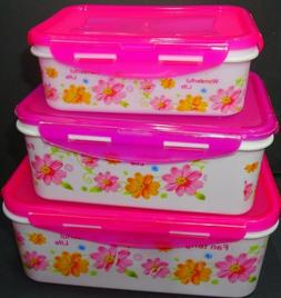 PLASTIC CONTAINER SET TUPPERWARE WITH LIDS 3PCS FOOD STORAGE