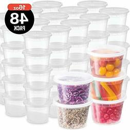 Plastic Deli Food Storage Containers With Leak-Proof Lids 48