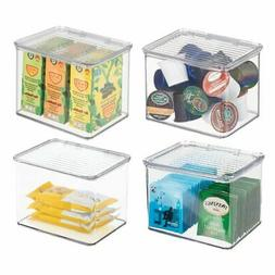 mDesign Plastic Stackable Kitchen Storage Container Bin with