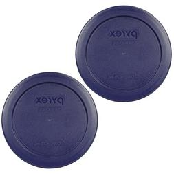 """Pyrex 7200-PC Round 2 Cup 5"""" Storage Lid Cover 2 Pack Blue f"""