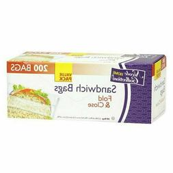 Sandwich Bag Value Pack 200 Count Fold Close Disposable Food