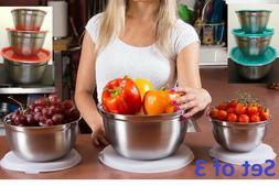 Set of 3 Stainless Steel Mixing Bowls with Lids Food Storage
