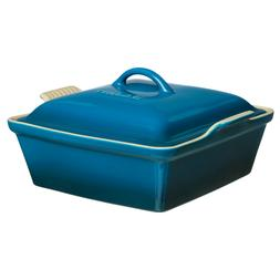 LE CREUSET Stoneware RARE Square Casserole With Lid Teal Dee