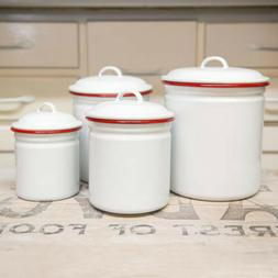 Crow Canyon Home Vintage Style Enamelware Canister Set Food